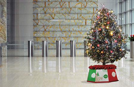クリスマスツリーを残して背景を差し替えた写真